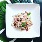 Insalata di farro con pomodori secchi,tonno e mostarda di Digione